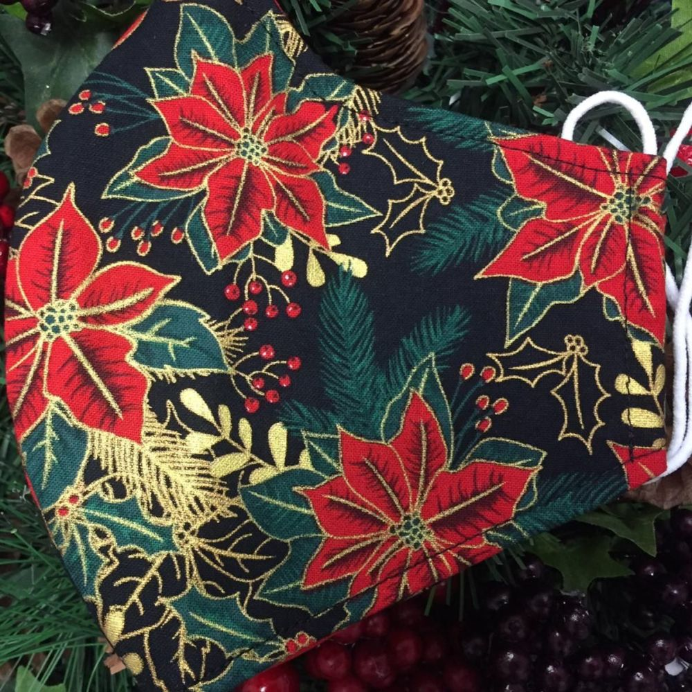 Poinsettia Face Covering