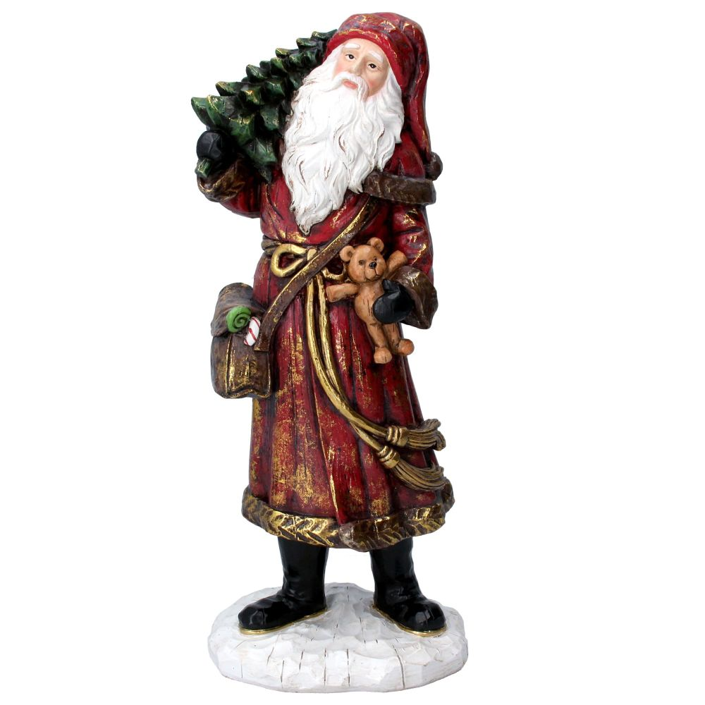 Rustic Victorian style Father Christmas carrying a Teddy Bear & Christmas T