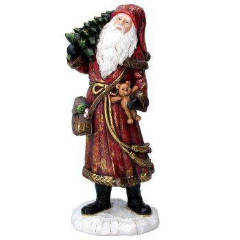 Rustic Victorian style Father Christmas carrying a Teddy Bear & Christmas Tree.