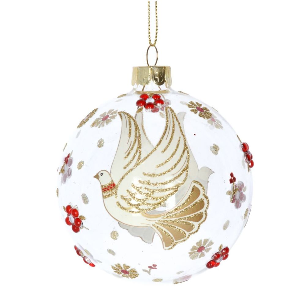 Clear Glass Bauble with Cream & Gold Glittered Doves decorated with Gold &