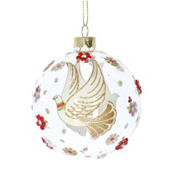 Clear Glass Bauble with Cream & Gold Glittered Doves decorated with Gold & Red Flowers - 8cm diameter.