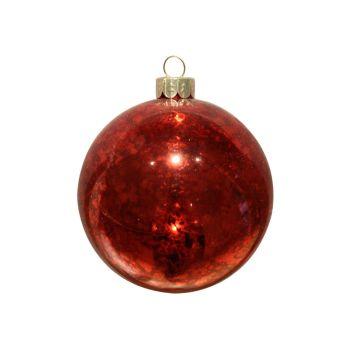 Red Antiqued Glass Bauble - 8cm diameter.