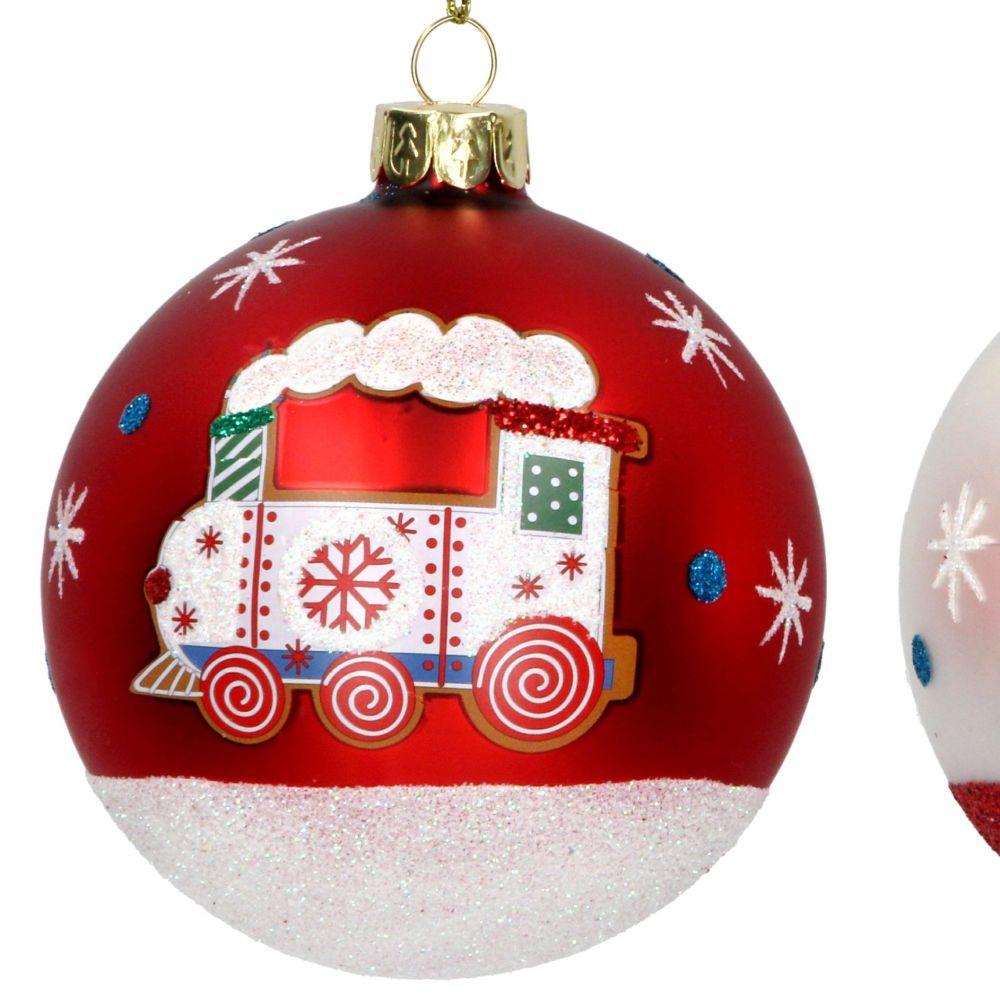 Matt Red Steam Train Christmas Tree Bauble - 8cm diameter.