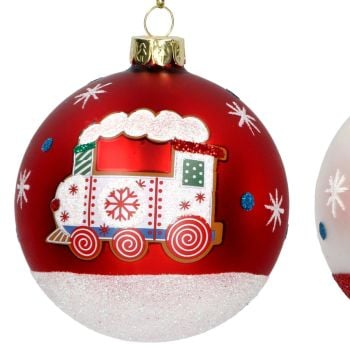 Matt Red Steam Train Christmas Tree Bauble - 8cm diameter.