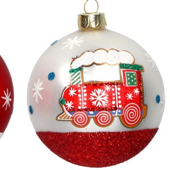 Matt White Steam Train Christmas Tree Bauble - 8cm diameter.