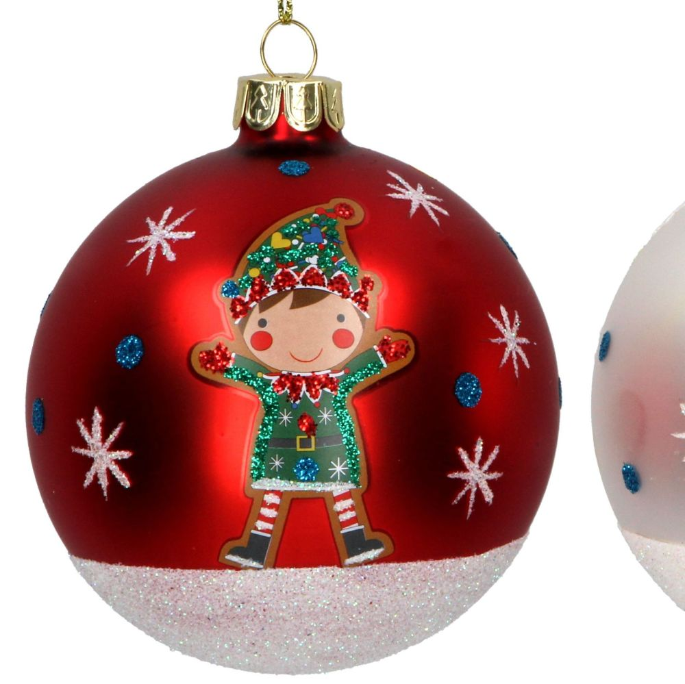 Matt Red Glass Christmas Tree Bauble with Green Elf - 8cm diameter.