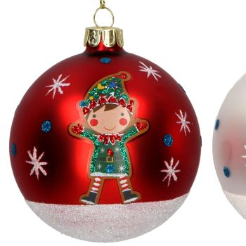 Matt Red Glass Christmas Tree Bauble with Green Elf - 8cm diameter.