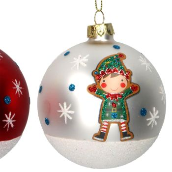Matt White Glass Christmas Tree Bauble with Green Elf - 8cm diameter.