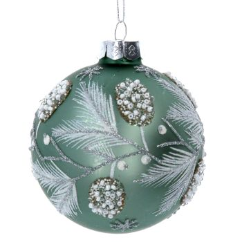 Sage Green Glass Bauble with Beaded Berries & Fir Leaves - 8cm diameter.