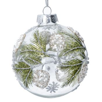 Clear Glass Bauble with Green Beaded Berries & Fir Leaves - 8cm diameter.