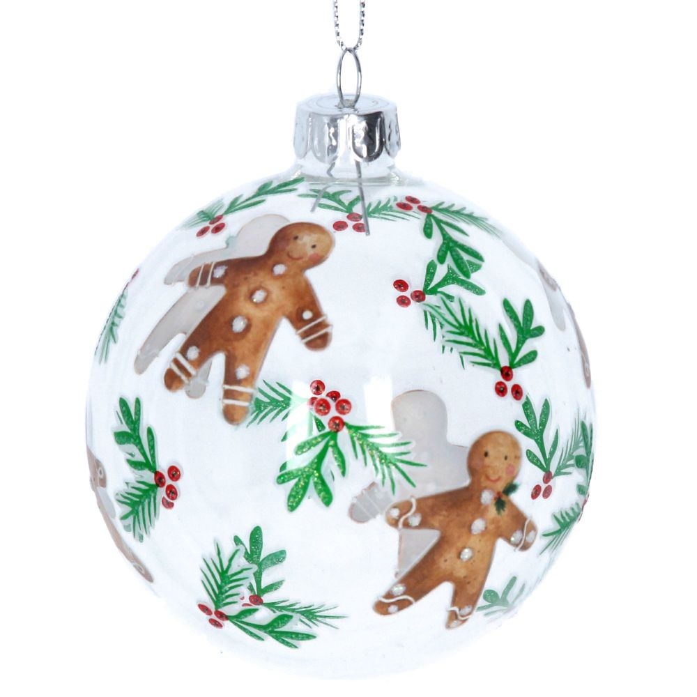 Gingerbread Clear Glass Bauble with Holly Berries - 8cm diameter.