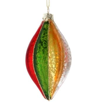 Multi Coloured Drop with Gold glitter - 12cm long x 7cm diameter.