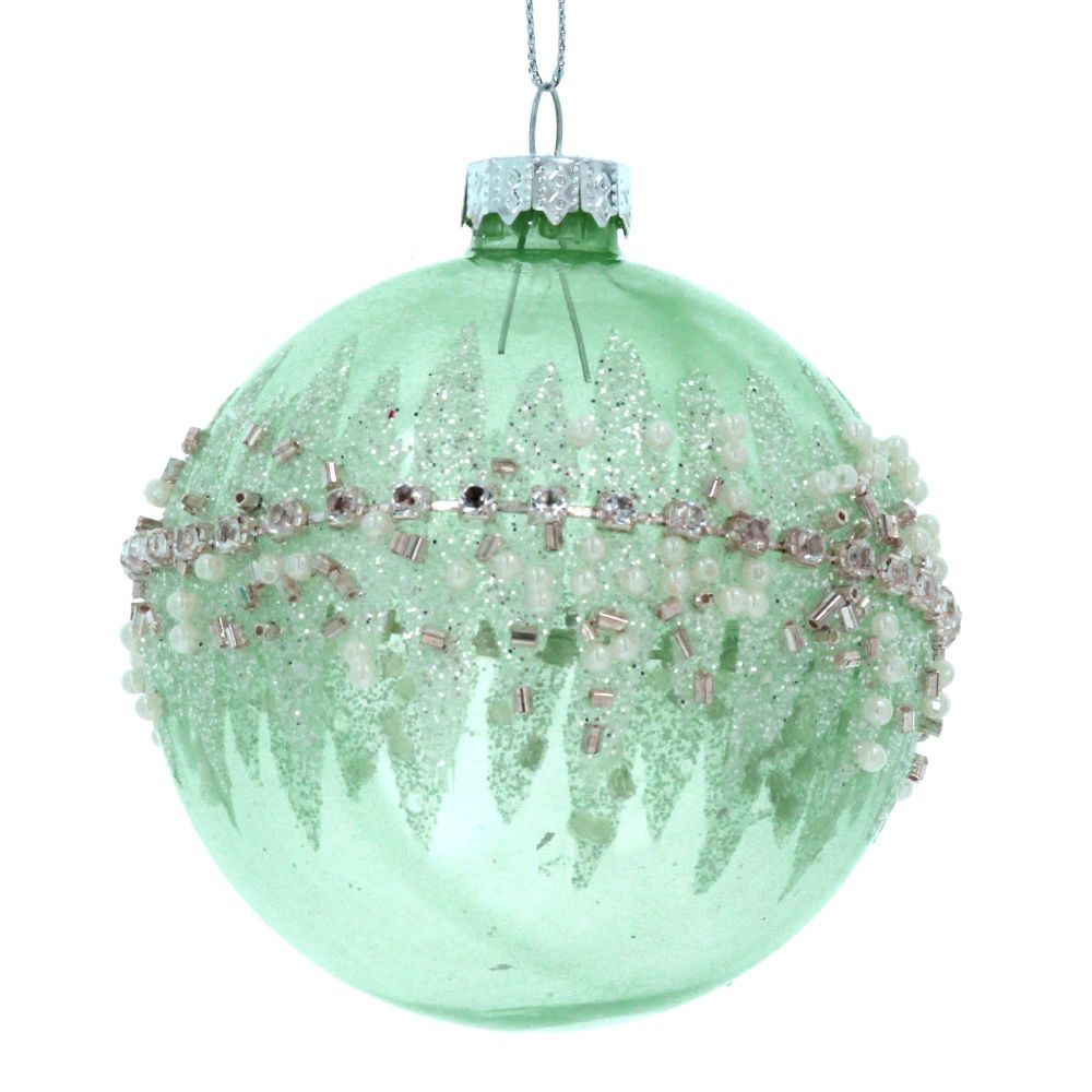 A stunning Pale Green Glass Bauble with crushed Jewel banding - 8cm diamete