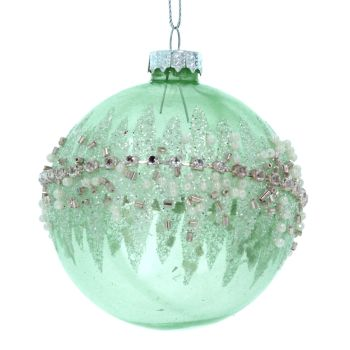 A stunning Pale Green Glass Bauble with crushed Jewel banding - 8cm diameter.