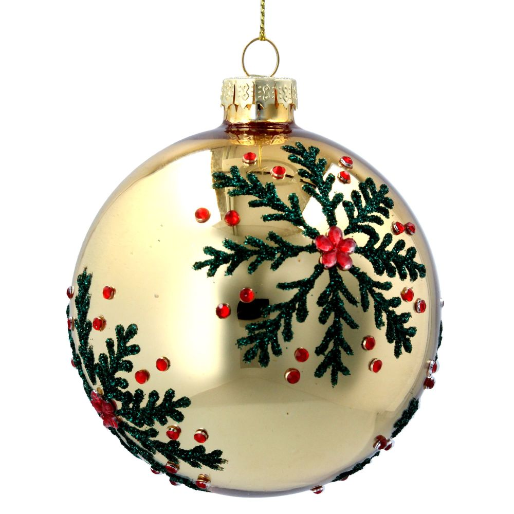 Gold Glass Bauble with Green & Red Snowflakes - 8cm diameter.