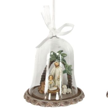 A Beautiful Glass Nativity Scene Dome with Mary kneeling with Baby Jesus & Joseph standing. We also have a matching Nativity item for this one.