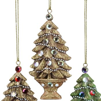 A Beautiful lightly glittered Christmas Tree Bauble with Jewels & a Gold Base.