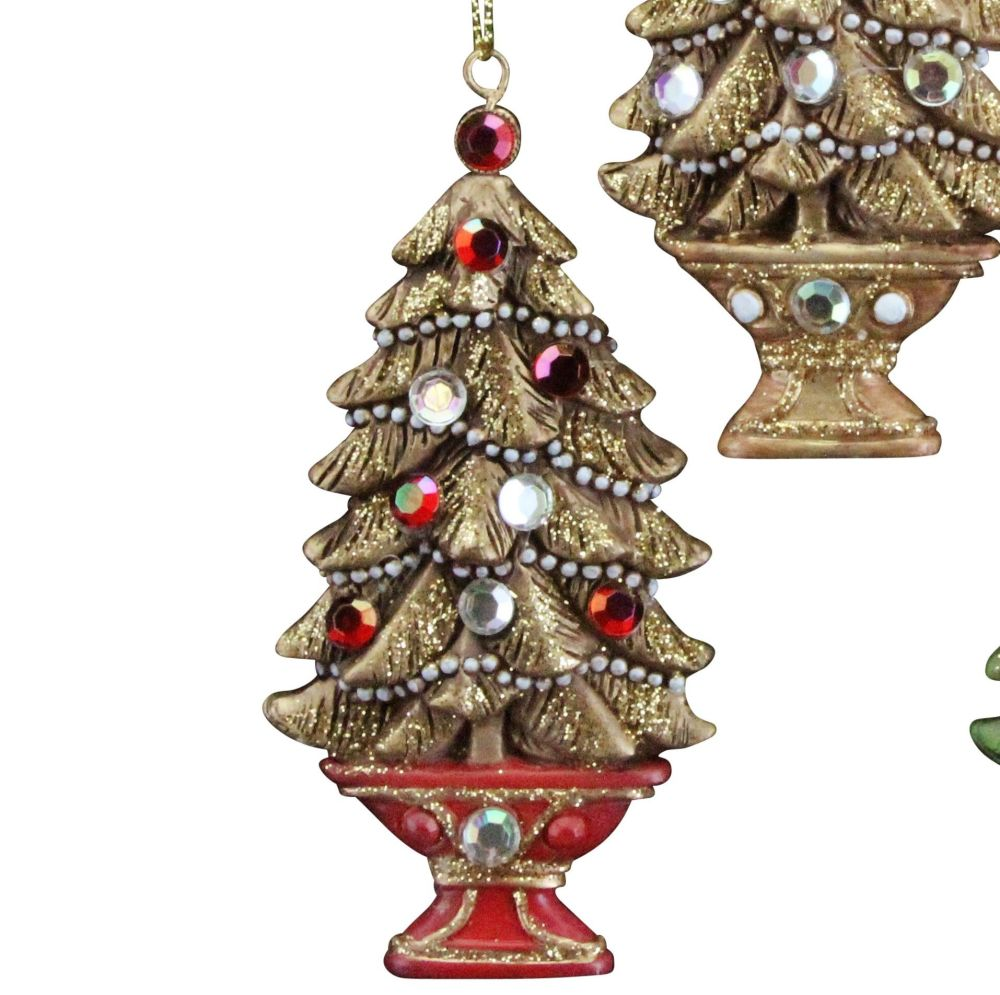 A Beautiful lightly glittered Christmas Tree Bauble with Jewels & a Red Bas
