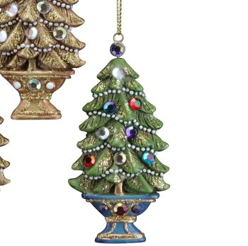 A Beautiful lightly glittered Christmas Tree Bauble with Jewels & a Purple Base.
