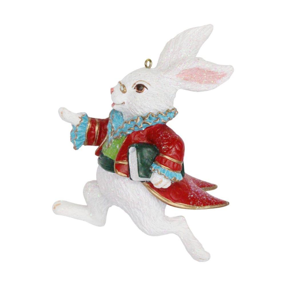 White Rabbit Bauble,  Alice in Wonderland Character - 10cm x 7cm x 4cm