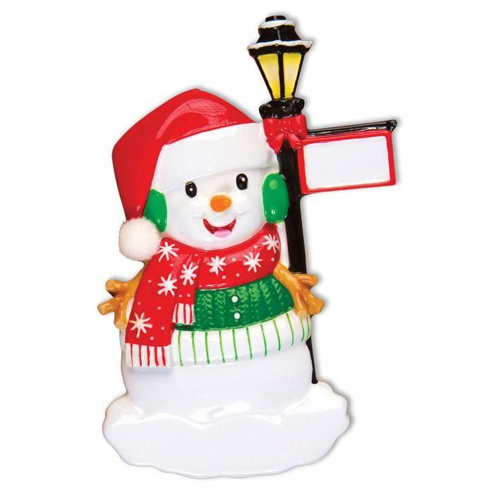 Snowman with Lantern Personalised Christmas Decoration
