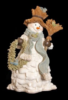 Large White Winter Sage Snowman Statue - 42cm tall x 25 wide x 20 deep.