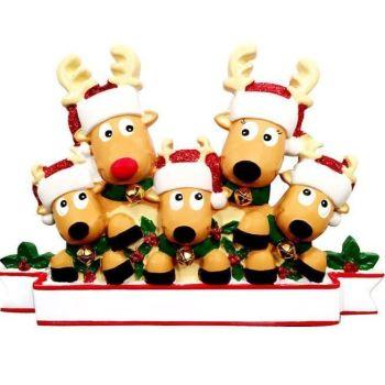 Festive Reindeer Family of 5