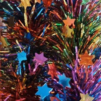 Rainbow coloured double  star tinsel