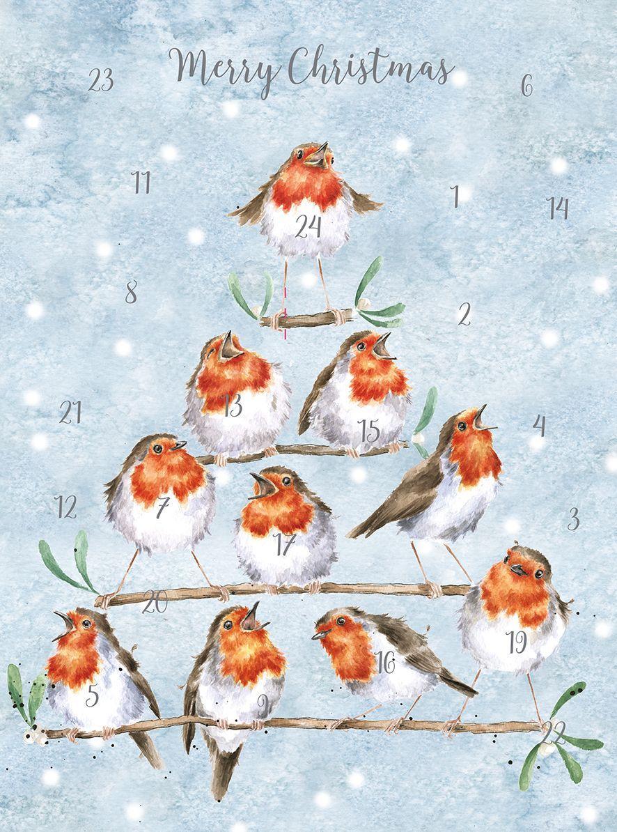 'Rocking Robins'  Advent Calendar Card by Wrendale - 210mm x 158mm