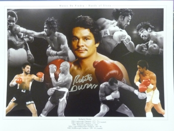 Roberto Duran Signed 12x16 Montage