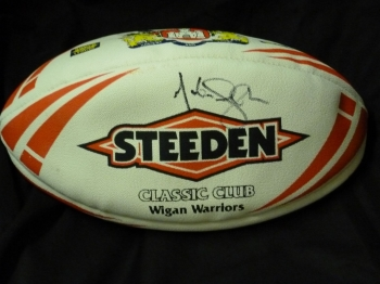 Martin Offiah Signed Wigan Warriors Rugby Ball