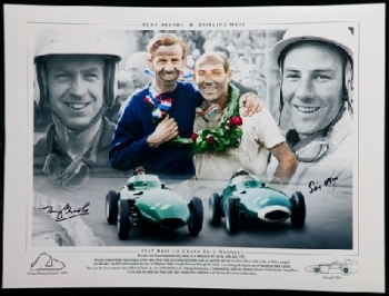 Tony Brooks and stirling Moss Duel signed 12x16 Montage Photogra
