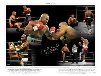 Evander Holyfield vs Mike tyson signed 12x16 montage