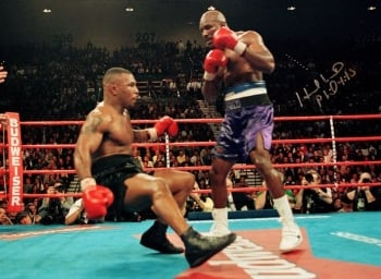Evander Holyfield vs Mike Tyson Signed 12x16 Photograph : B