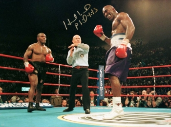 Evander Holyfield Vs Mike Tyson Signed 12x16 Photograph : C