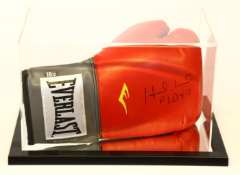 Evander Holyfield Signed Red Boxing Glove Presented In An Acrylic Case