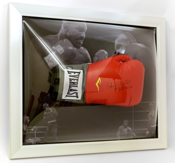 Evander Holyfield Signed Boxing Glove presented in an Dome frame