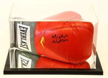Michael Watson Signed Red Boxing Glove Presented In An Acrylic Case