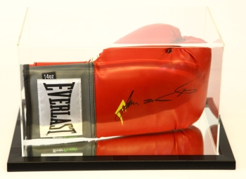 James Toney Signed Red Boxing Glove Presented  In An Acrylic Case.