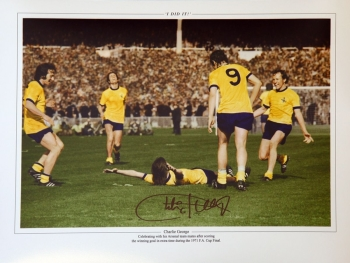 New Charlie George Hand Signed Arsenal celebration 12x16 Photograph B