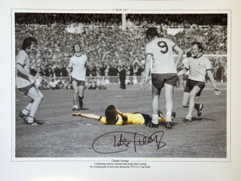 New Charlie George Hand Signed Arsenal celebration 12x16 Photograph C