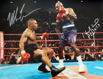 Mike Tyson And Evander Holyfield Duel Signed 12x16 Photgraph : A
