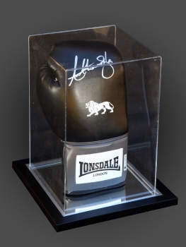 Anthony Joshua Signed Portrait Lonsdale Boxing Glove In An Acrylic Case