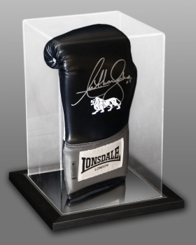Anthony Joshua Signed Black Boxing Glove In An Acrylic Case Incribed With AJ - B