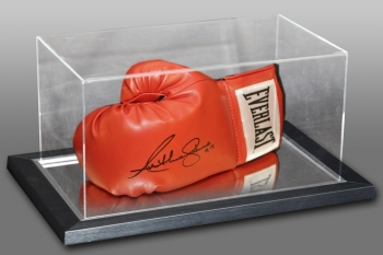 Anthony Joshua Signed Red Everlast Boxing Glove In An Acrylic Case. inscribed AJ
