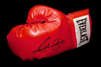 Anthony Joshua Hand Signed Red Everlast Boxing Glove. Inscribed AJ