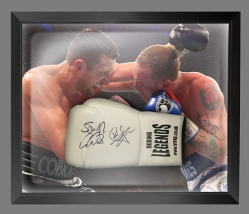 Carl Froch And George Groves Dual Signed White Boxing Glove In A Dome Frame