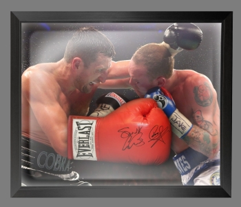 Carl Froch And George Groves Dual Signed Red Boxing Glove In A Dome Frame