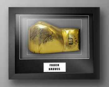 Carl Froch And George Groves Dual Signed Gold Boxing Glove In A Box Frame