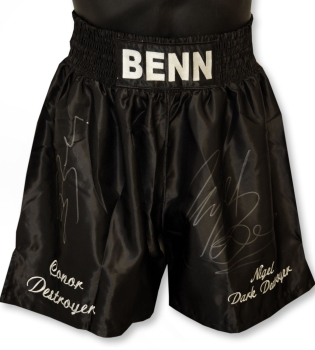 Nigel Benn And Connor Benn Dual Signed Custom Made Boxing Trunks